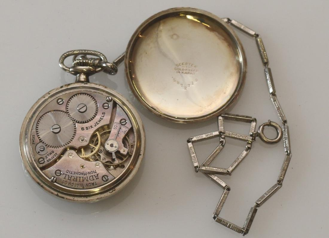 ADMIRAL POCKET WATCH AND CHAIN - 3