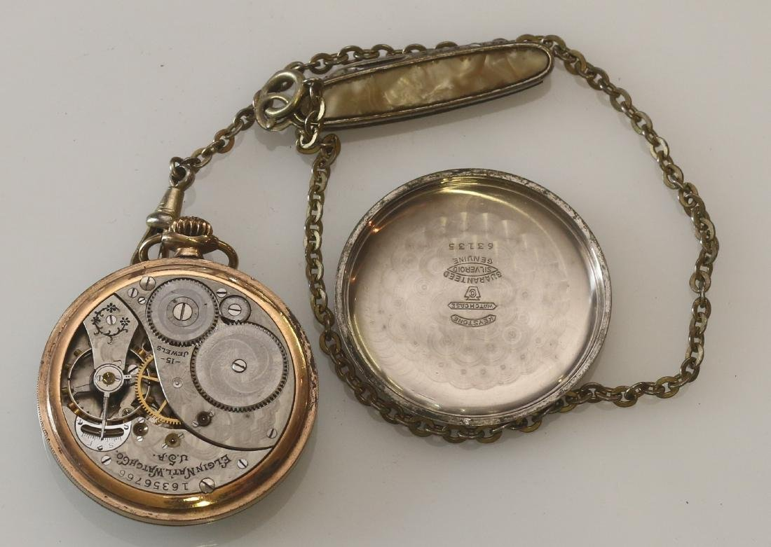 ELGIN POCKET WATCH AND CHAIN - 2