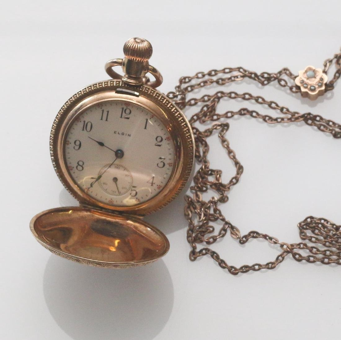 LADIES POCKET WATCH AND CHAIN - 2