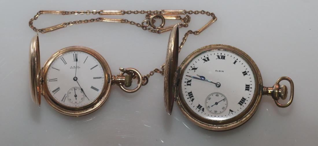 (2) POCKET WATCHES AND CHAIN