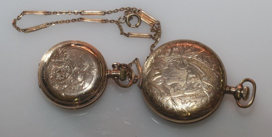 (2) POCKET WATCHES AND CHAIN - 2