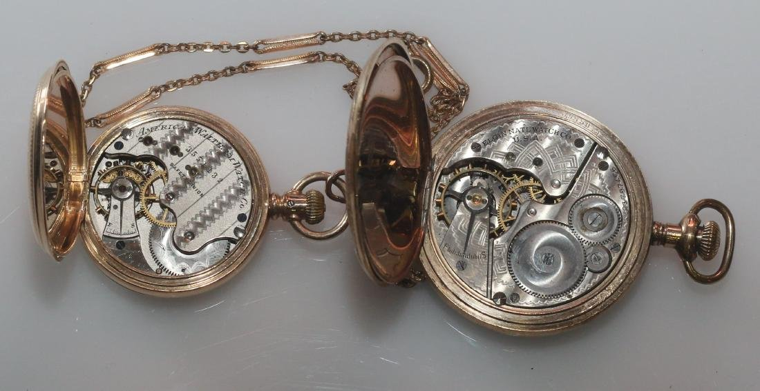 (2) POCKET WATCHES AND CHAIN - 3