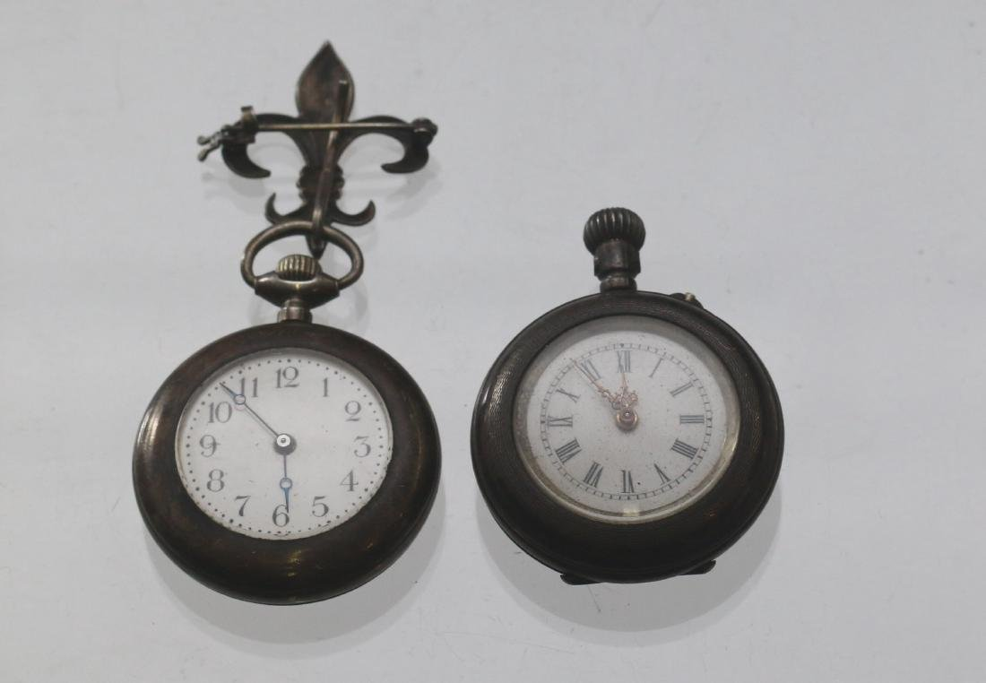 (2) LADIES SILVER POCKET WATCHES