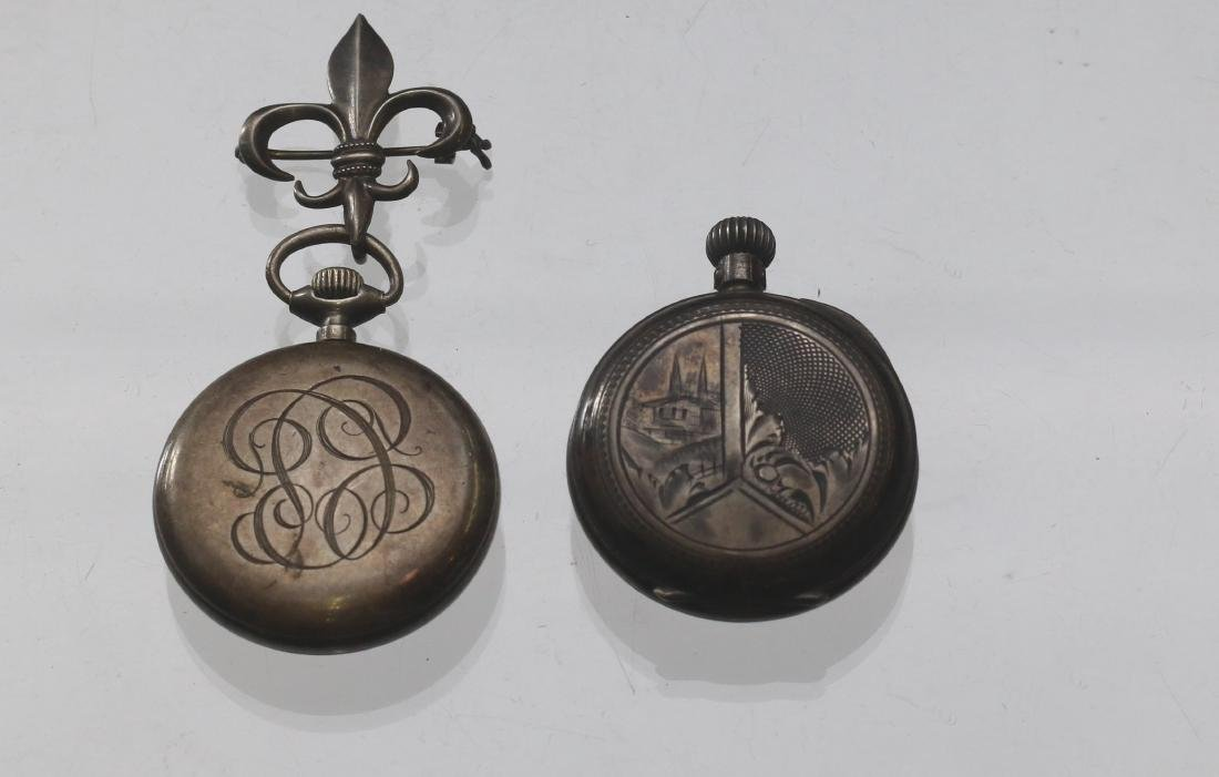 (2) LADIES SILVER POCKET WATCHES - 2