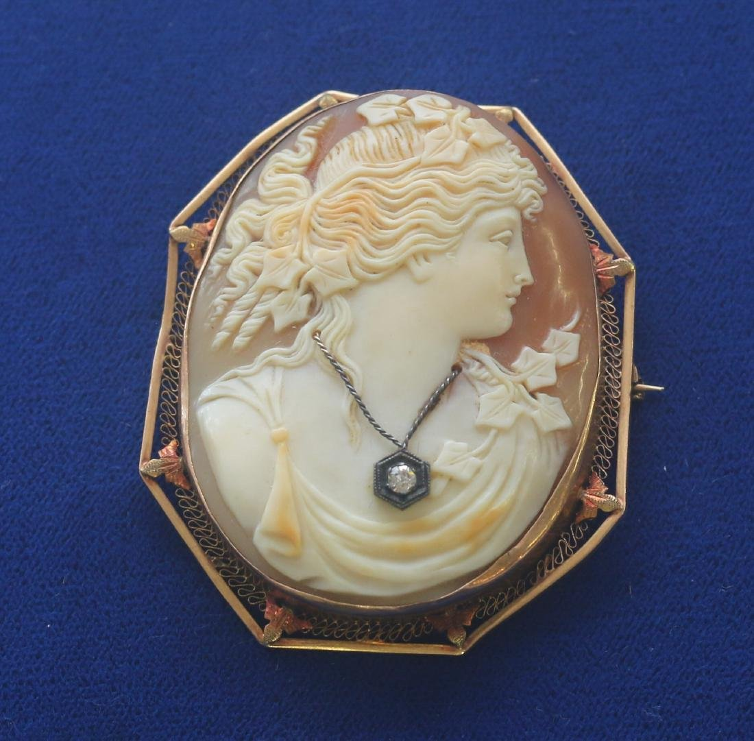 14K SHELL LARGE CAMEO BROOCH