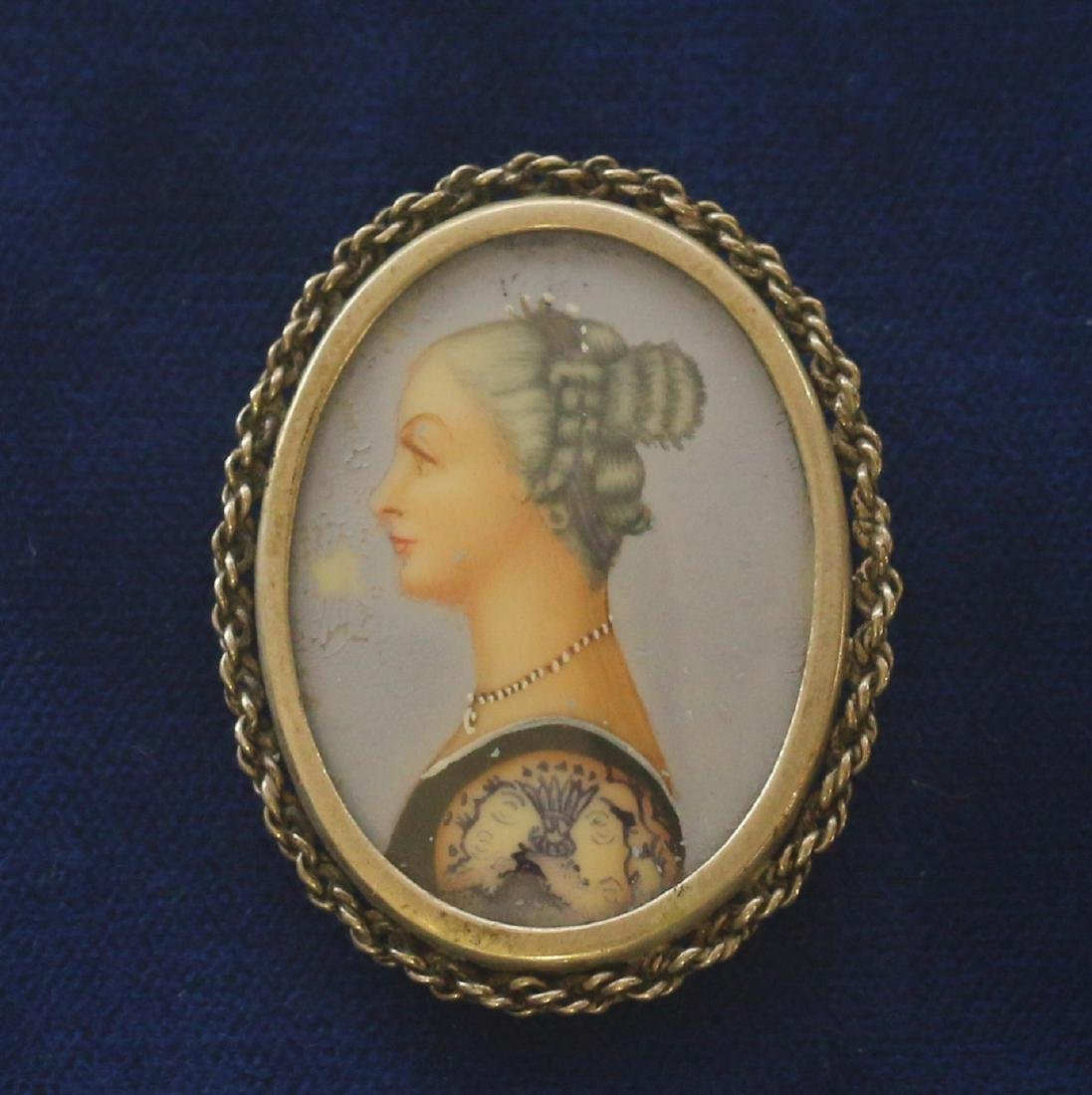 PAINTED MINIATURE BROOCH