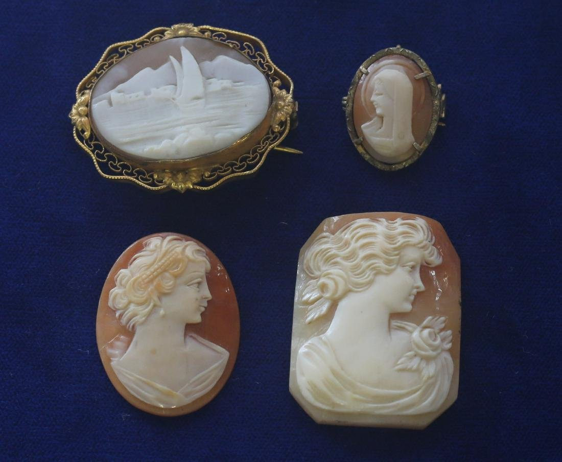 (4) CARVED SHELL CAMEO'S