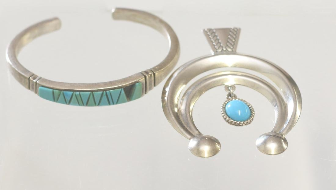 NATIVE AMERICAN CUFF AND PENDANT