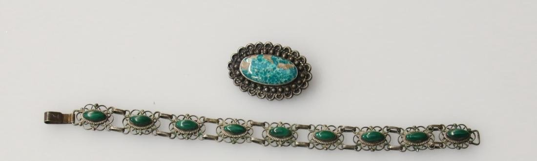 STERLING BROOCH AND PENDANT