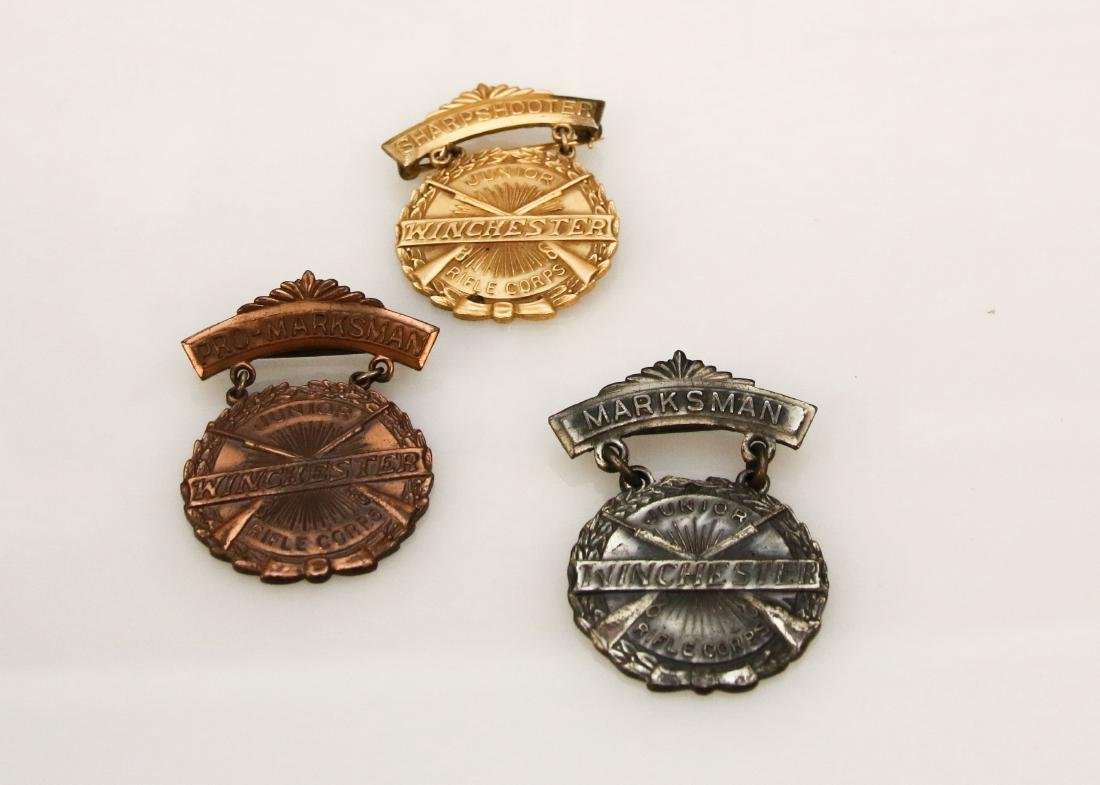 (3) WINCHESTER MARKSMAN MEDALS