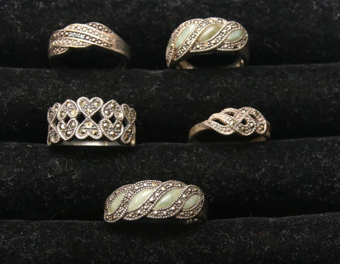 (5) STERLING AND MARCASITE RINGS