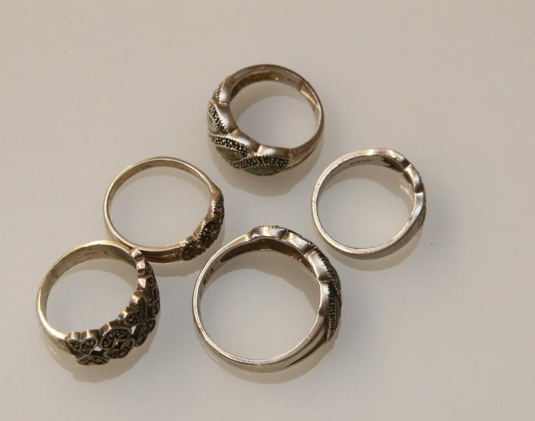 (5) STERLING AND MARCASITE RINGS - 2