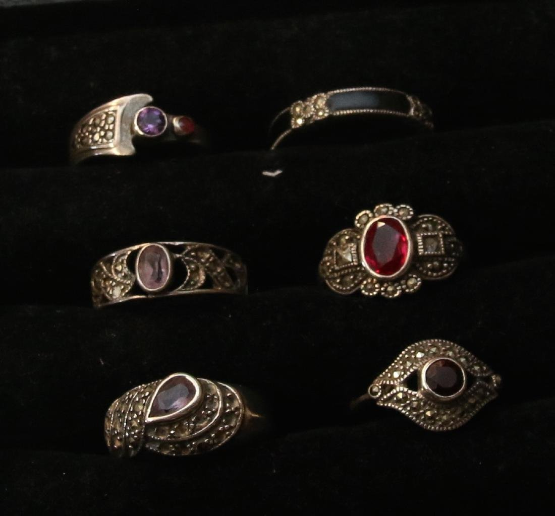(6) STERLING AND MARCASITE RINGS