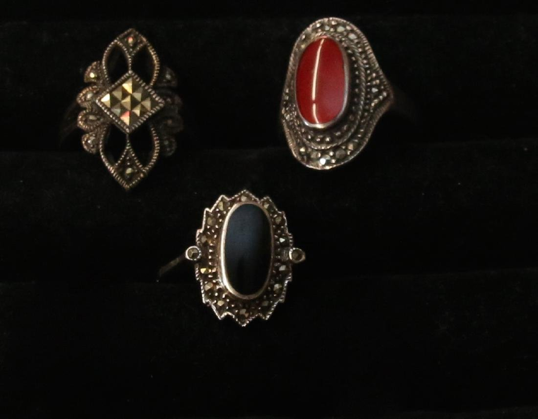 (3) STERLING AND MARCASITE RINGS