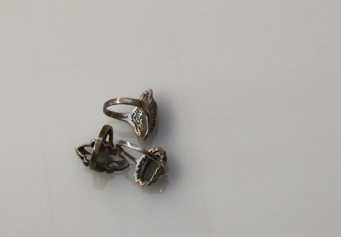 (3) STERLING AND MARCASITE RINGS - 2