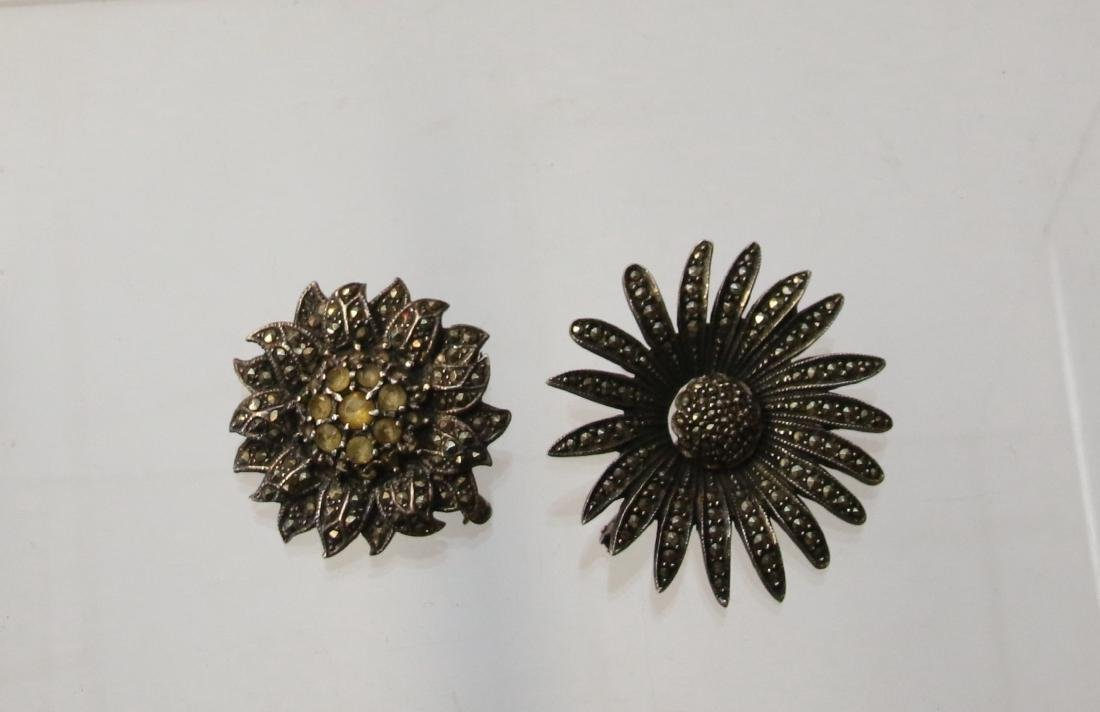 (2) STERLING AND MARCASITE  BROOCHES
