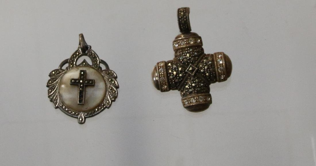 STERLING AND MARCASITE  PENDANTS