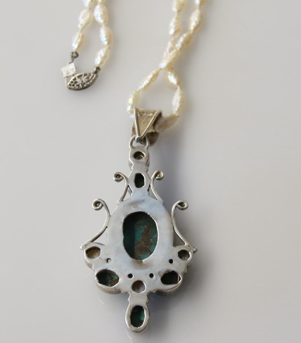 STERLING PENDANT AND PEARLS - 2