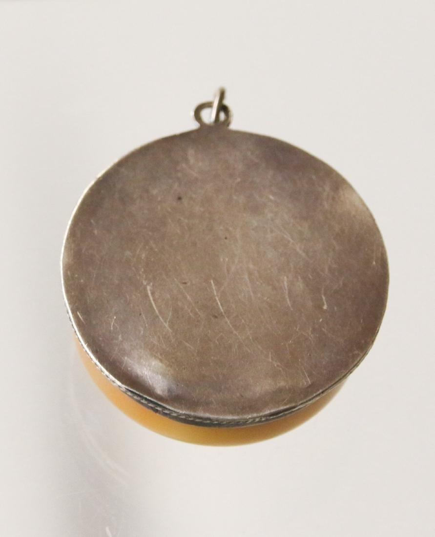 STERLING AND AMBER PENDANT - 3