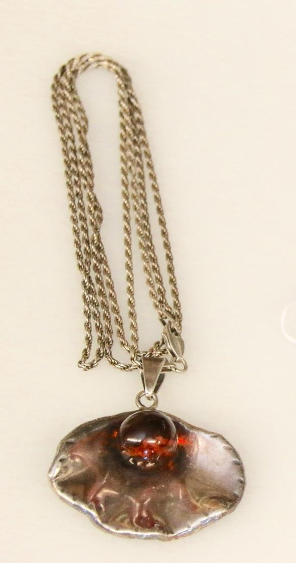 STERLING AND AMBER NECKLACE
