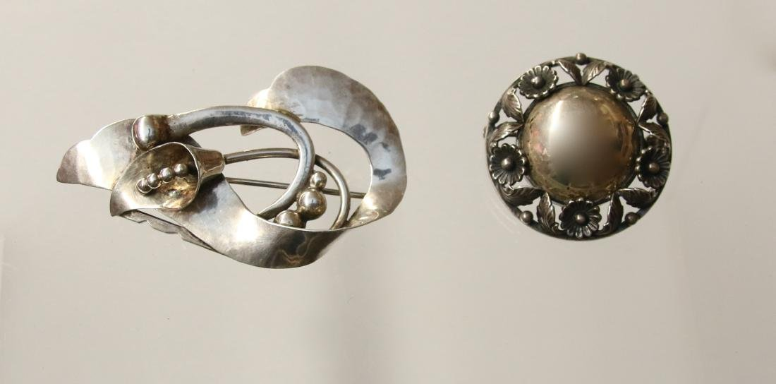 (2) DENMARK STERLING BROOCH'S