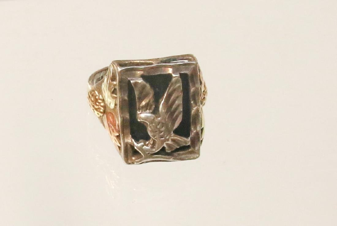 STERLING AND BLACK HILLS GOLD RING