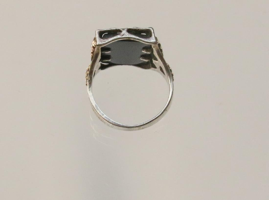 STERLING AND BLACK HILLS GOLD RING - 3