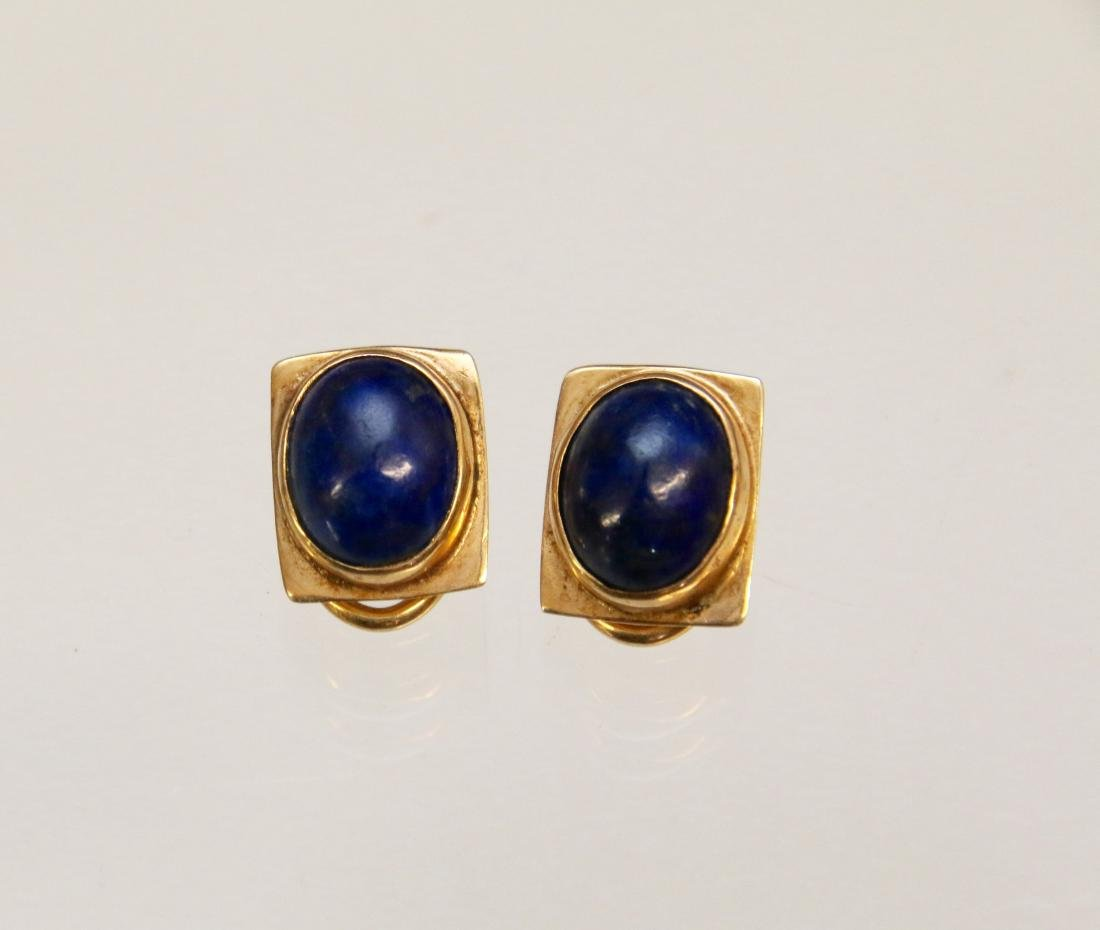 14K GOLD AND LAPIS EARRINGS