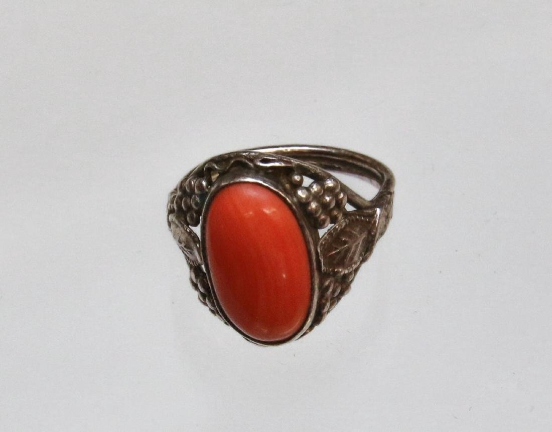 CORAL AND STERLING RING