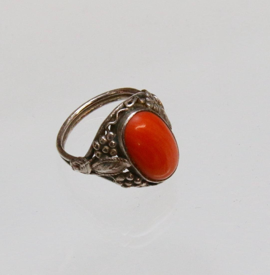 CORAL AND STERLING RING - 2
