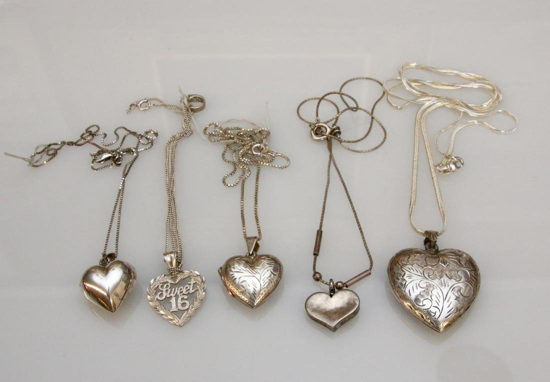 5 - STERLING HEART NECKLACES