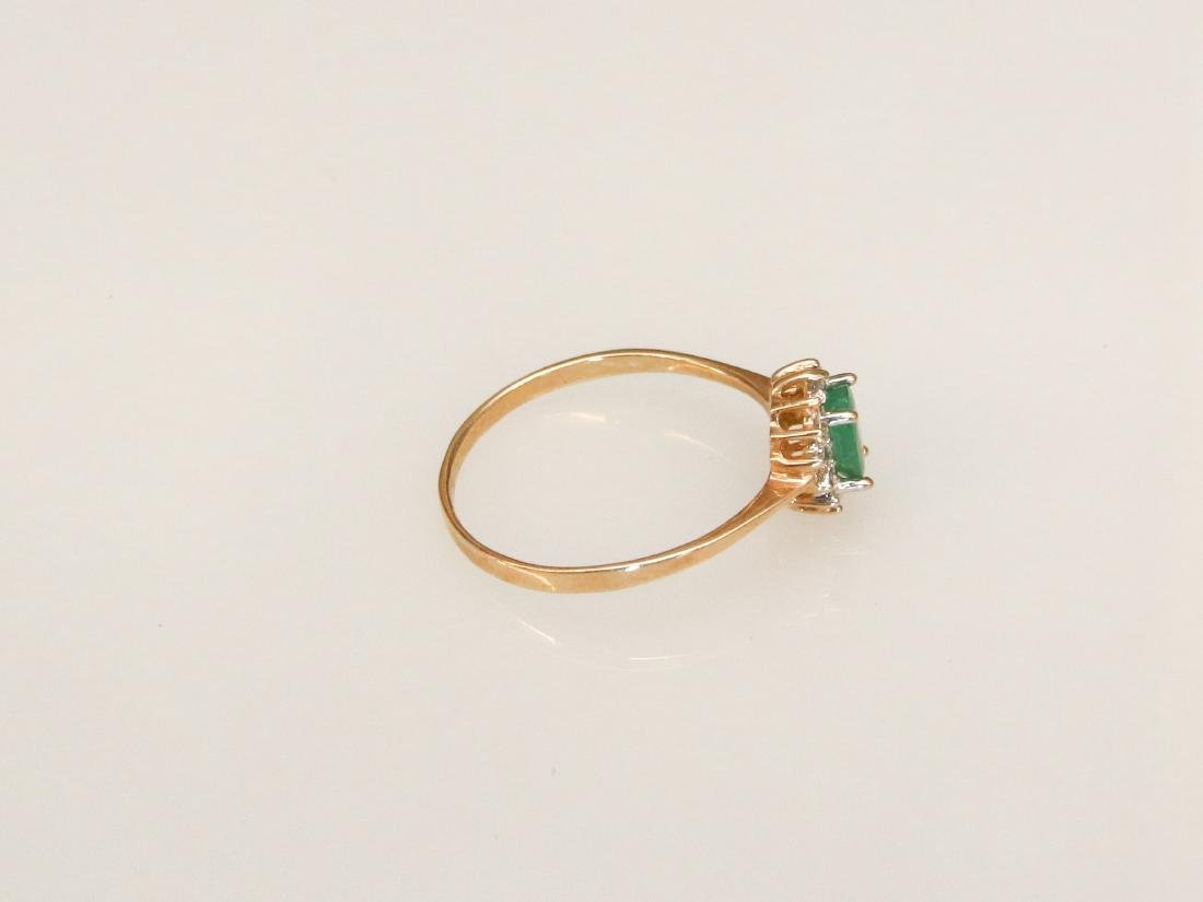 14K GOLD AND EMERALD RING - 2
