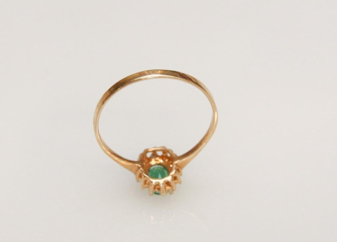 14K GOLD AND EMERALD RING - 3