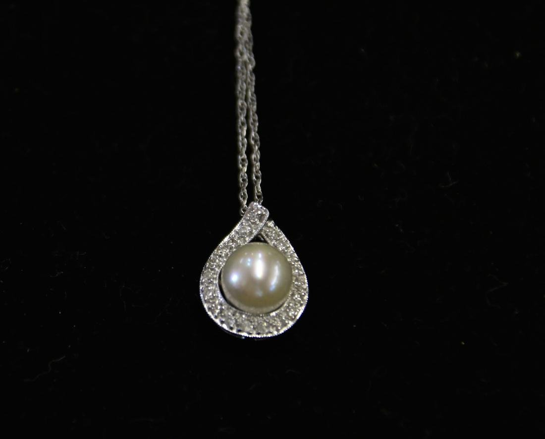 14K WHITE GOLD CHAIN AND PENDANT