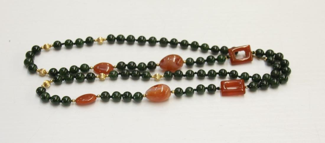SPINACH JADE BEADS WITH 14K CLASP