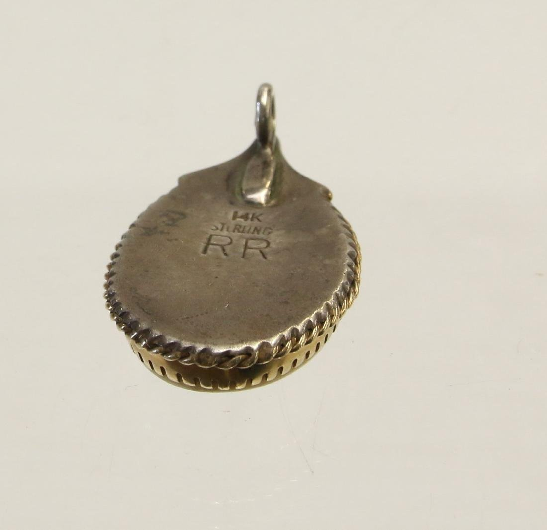 14K GOLD AND STERLING PENDANT - 2