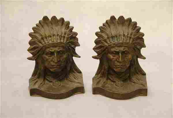 PAIR OF FIGURAL BRONZE BOOKENDS