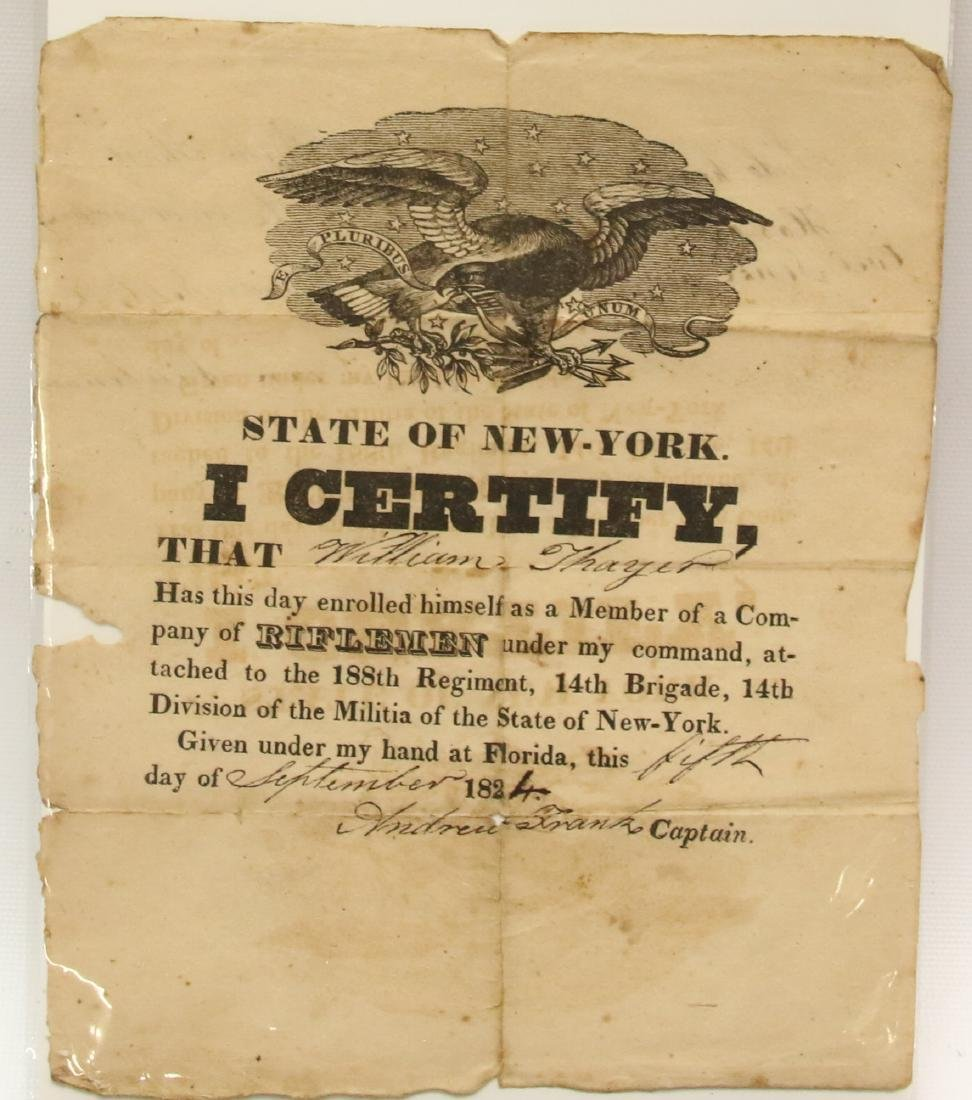 19TH CENTURY STATE OF NEW YORK CERTIFICATE