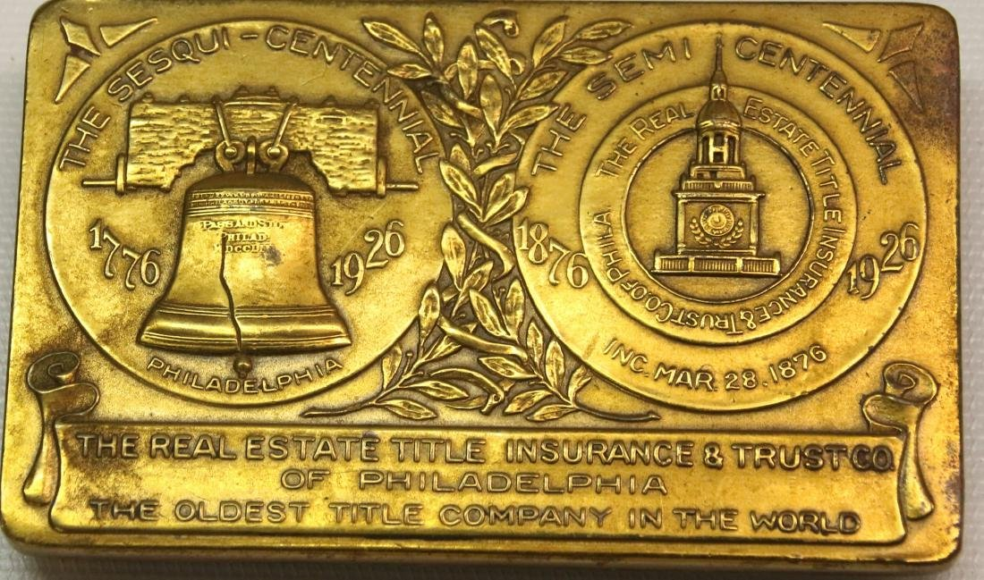 PHILADELPHIA BRASS PLAQUE