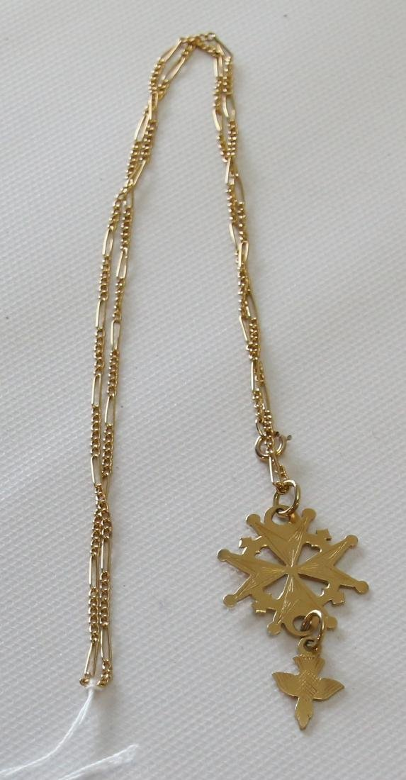 14K AND 18K GOLD CHAIN AND PENDANT