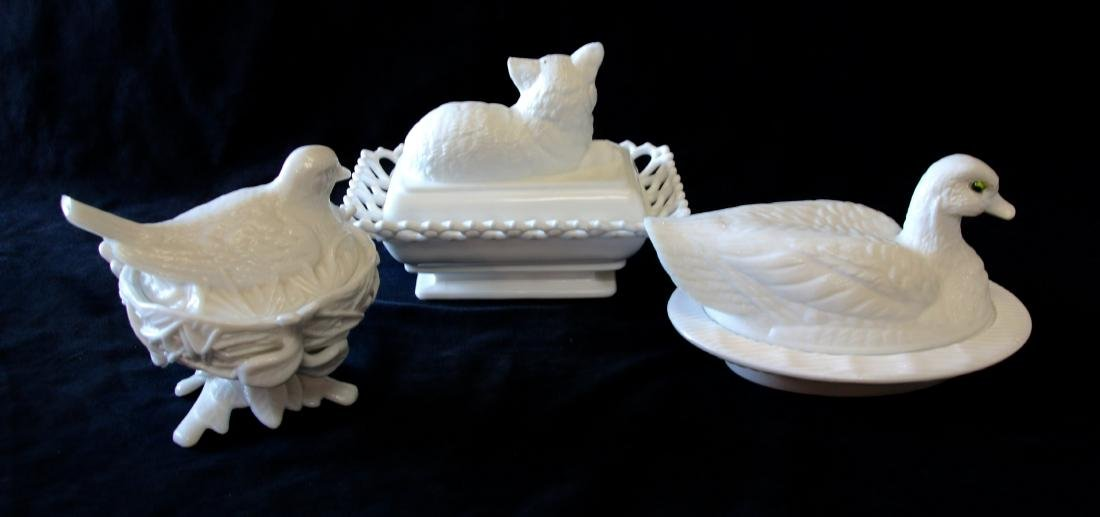 GROUP LOT OF EARLY MILK GLASS - 2