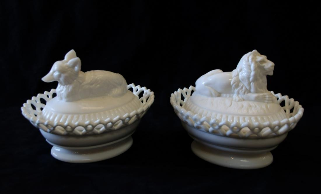 GROUP LOT OF EARLY MILK GLASS - 3