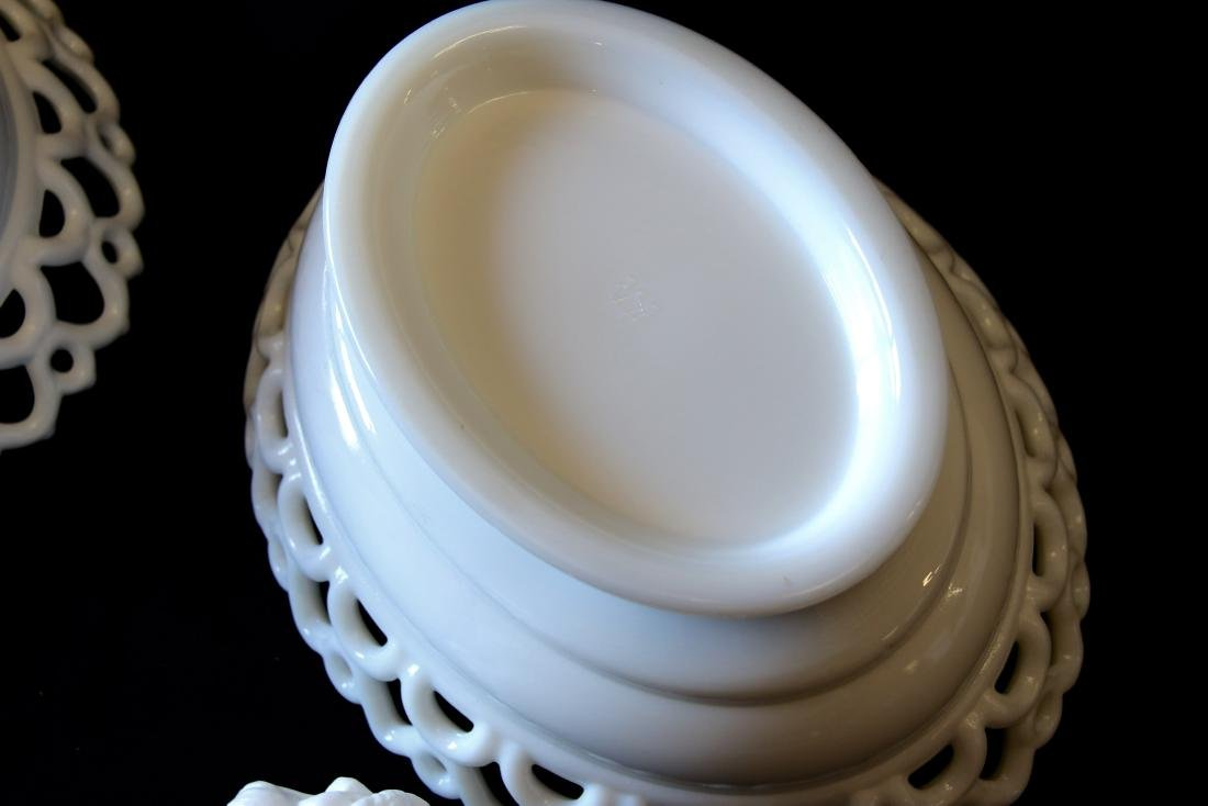 GROUP LOT OF EARLY MILK GLASS - 7