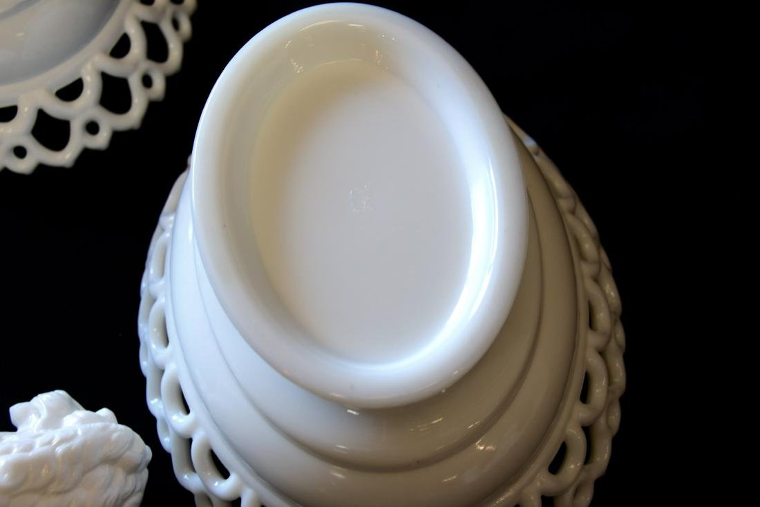 GROUP LOT OF EARLY MILK GLASS - 8