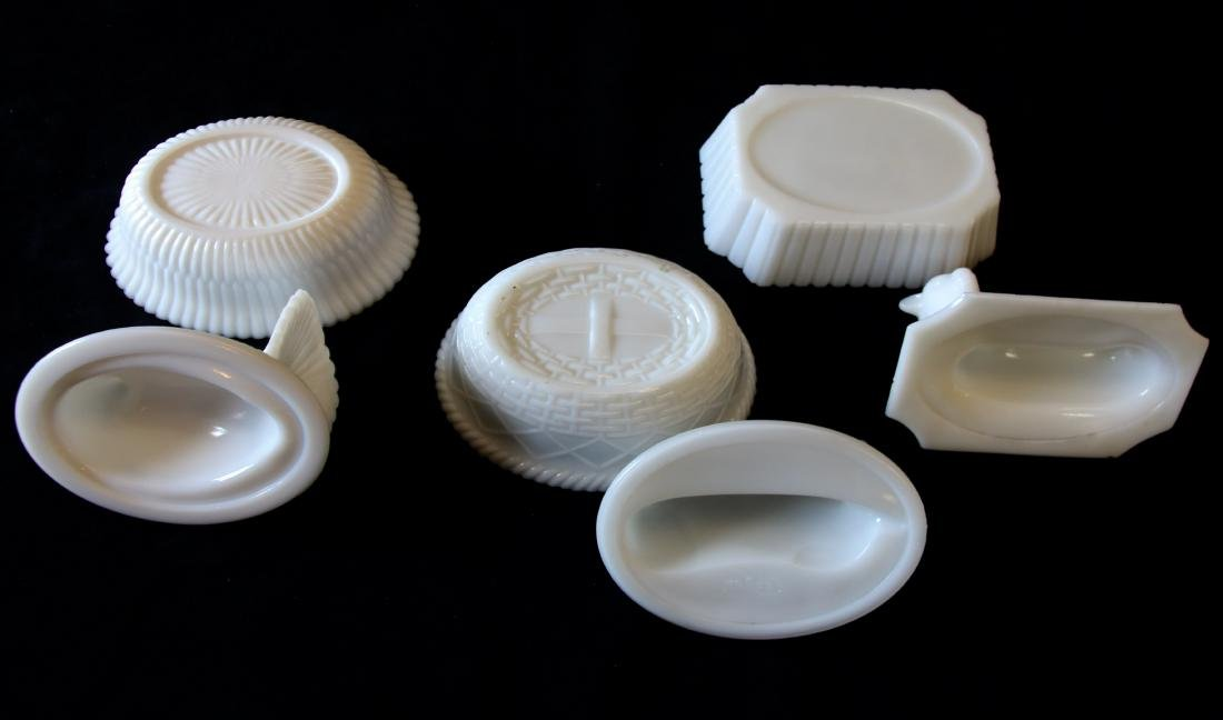 GROUP LOT OF EARLY MILK GLASS - 5