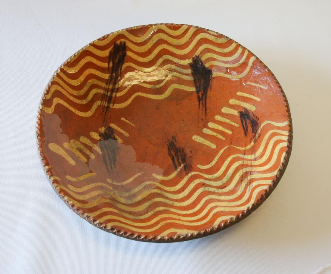 REDWARE SLIP DECORATED PIE PLATE