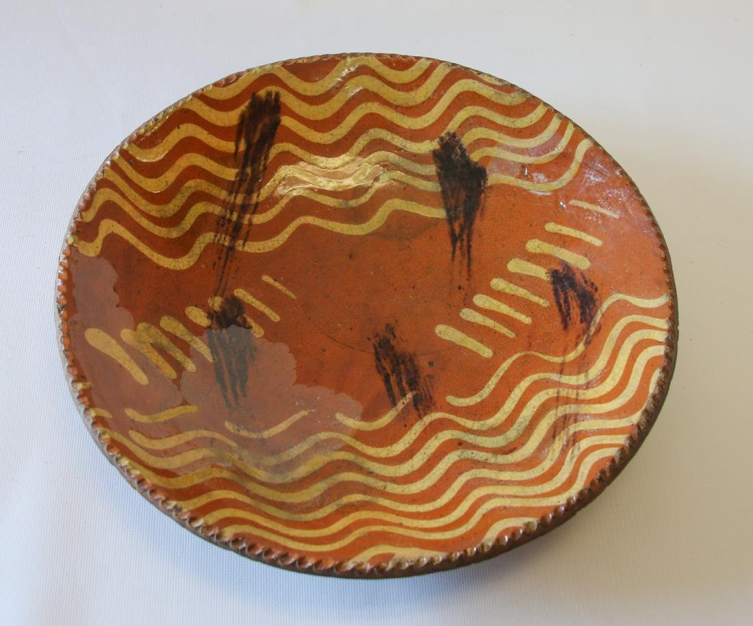 REDWARE SLIP DECORATED PIE PLATE - 2
