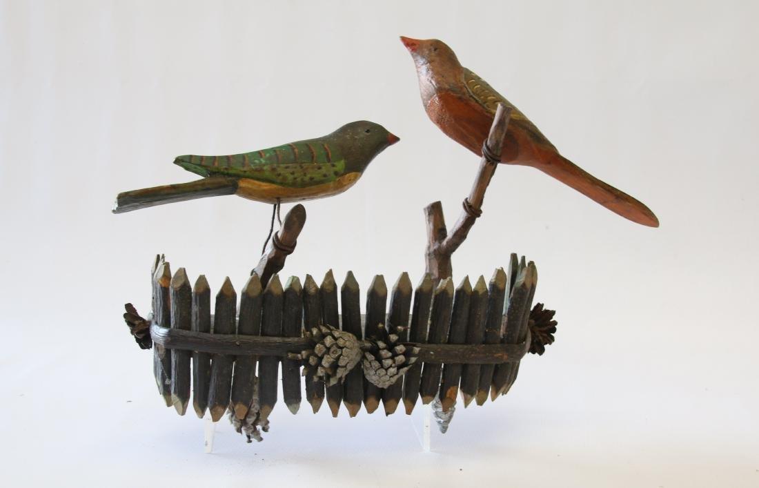 FOLK ART CARVED BIRD WALL HANGING
