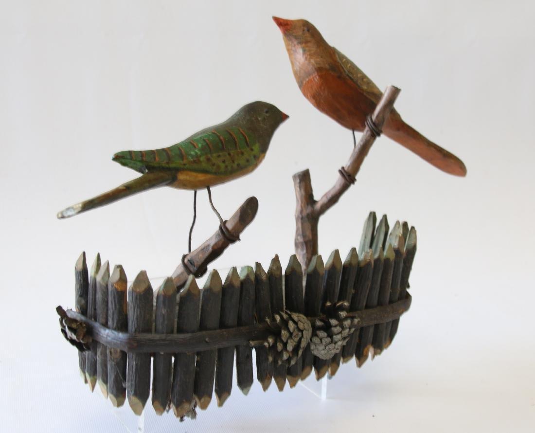 FOLK ART CARVED BIRD WALL HANGING - 2