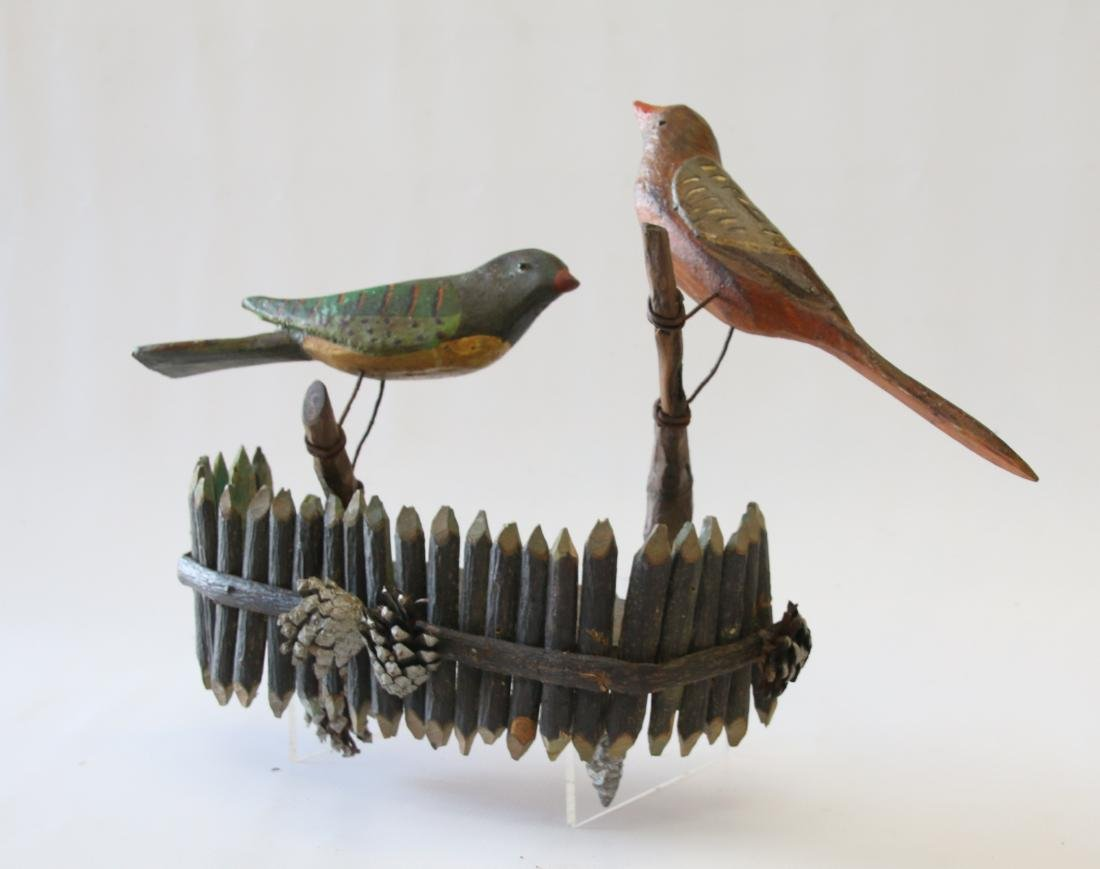 FOLK ART CARVED BIRD WALL HANGING - 3